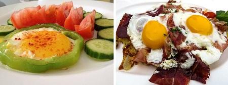 Вред равно приплод куриных яиц - яичко  со овощами alias яйцеклетка вместе с беконом?